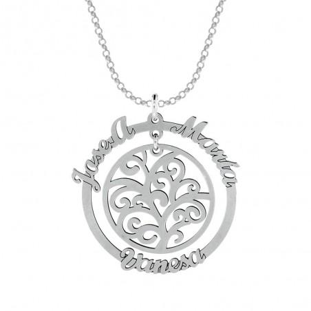 Joyas personalizadas. Colgante personalizable disponible en Only silver. Árbol de la vida en aro con nombres